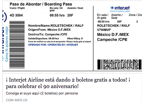 Boletos gratis en interjet (Fraude)